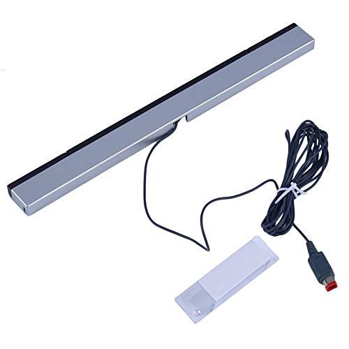 Justdodo Sostituzione infrarosso TV Ray Wired Remote Sensor Bar Reciever Induttore per Nintendo per Wii per Wii U Console-Nero con Argento