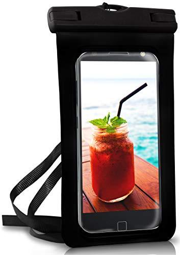 ONEFLOW Wasserdichte 360° Handy-Hülle für Motorola und Lenovo [Full-Body Cover] Touch-Funktion und Kamera-Fenster + Armband und Schlaufe zum Umhängen, Schwarz
