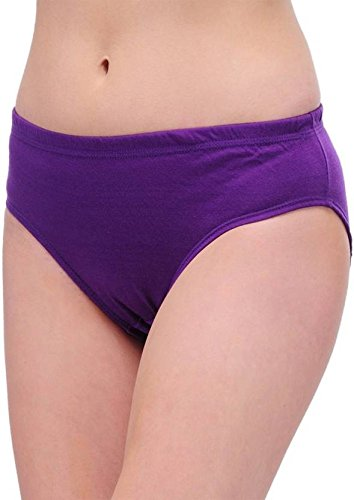 JIL Delux Womens Brief 100% Cotton Plain Ladies All Size Panty Inner Elastic Under wear Combo Pack Offer (Color May Vary) (3, Large=90cm)