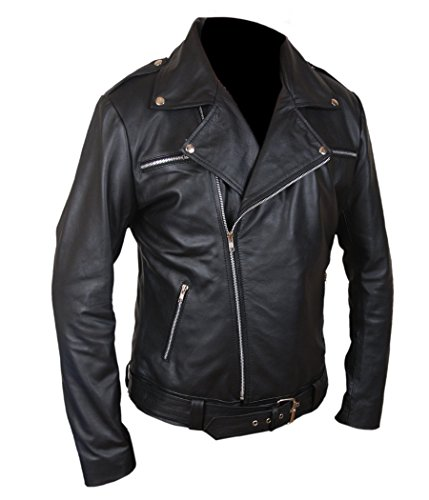 F&H Men's The Walking Dead Negan Genuine Leather Jacket S Black