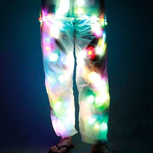 MoLiYanZi Frauen/Männer LED-Lichthosen Halloween Bunt Leuchtend Weiße Hosen Partei Freizeithosen Tanz Requisiten Festliche Kleidung, XL (Teenager Jazz Dance Kostüm)