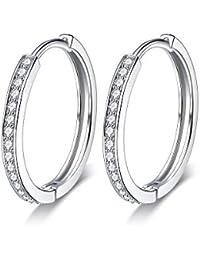 Lydreewam Women's 925 Sterling Silver Hinged Hoop Earrings with 3A Zirconia Diameter 24 mm