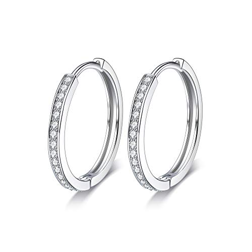 Lydreewam Women 925 Sterling Silver Hinged Hoop Earrings with 3A Cubic Zirconia, Diameter 24mm