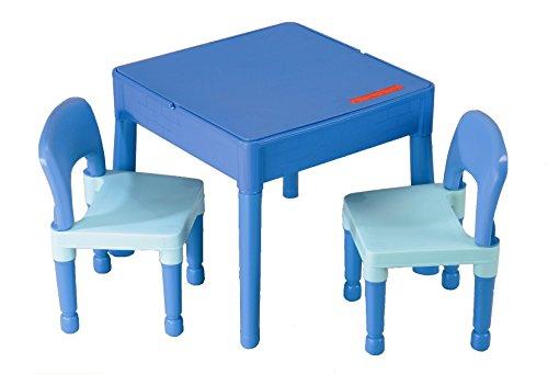 Meubles Enfant Bleu 1 Table + 2 chaises Liberty Building Tega House Multi activités idée Cadeau Lego (Bleu)