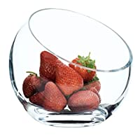 SOLAVIA Clear Glass Sphere | Hand Crafted Decorative Snack & Dip Bowl 16 cm high | Slant