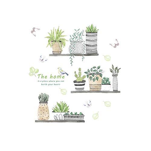 Creativas de la pared plantas verdes delicados Pegatinas de pared desmontable de...