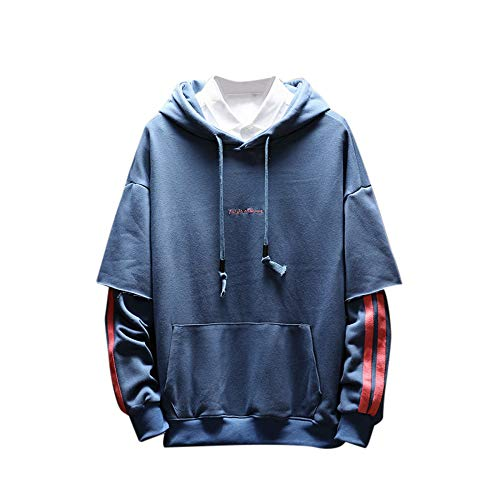 KPILP Sweatshirt Herren Lose Hoodie Herbst Winter Plus Größe S-5XL Warm Langarm Pocket Patchwork Spleißen Oberteile Bluse(Blau, 3XL)