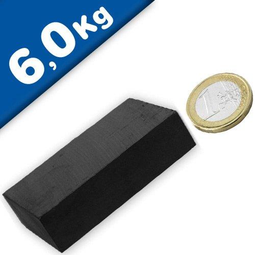 5 x Quadermagnet 60 x 40 x 15mm Ferrit Y35 - hält 6,0kg Keramik-Magnet