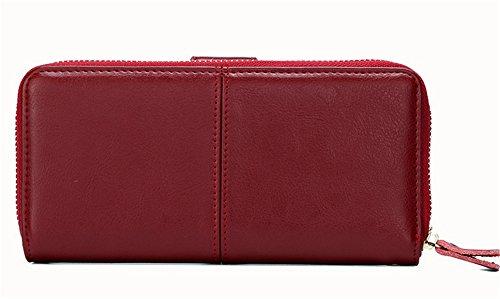 Xinmaoyuan Portafogli donna lungo portafoglio Wallet moda rétro Zipper Wallet semplice e pratica custodia in pelle borsa a mano,viola Rosso