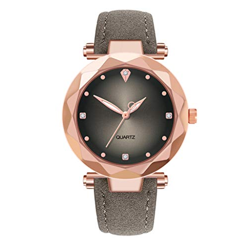Luckhome Damen Analog Quarz Uhr Mit Leder Armband Luxusuhren Quarzuhr Edelstahl Zifferblatt Casual Damenuhr Za42 (Grau)