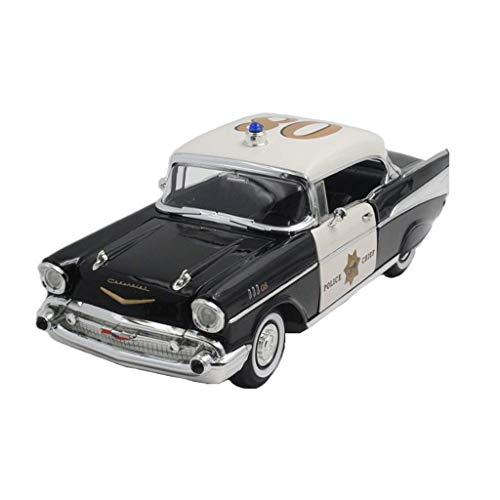 Bel Air Mini (KKD Scale-Modellfahrzeuge 1:18 1957 Chevrolet Bell Polizeiauto CHEVROLET BEL AIR Klassische Sportwagen Statische Simulation Legierung Automodell Dekoration Sammlung Mini Fahrzeuge)