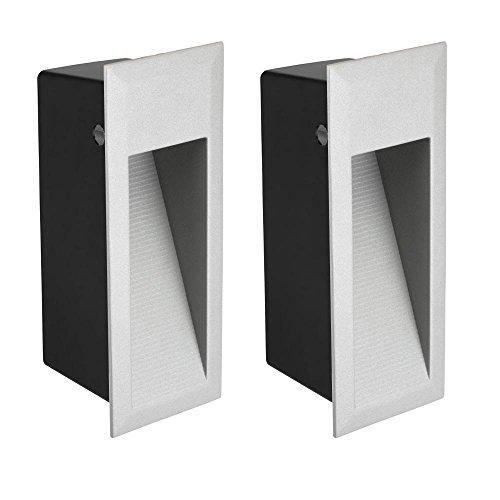 Parlat LED luminaire d´escalier luminaire encastrable dans le mur pour l'extérieur, angulaire, blanche-chaude, 230V, 2 pcs