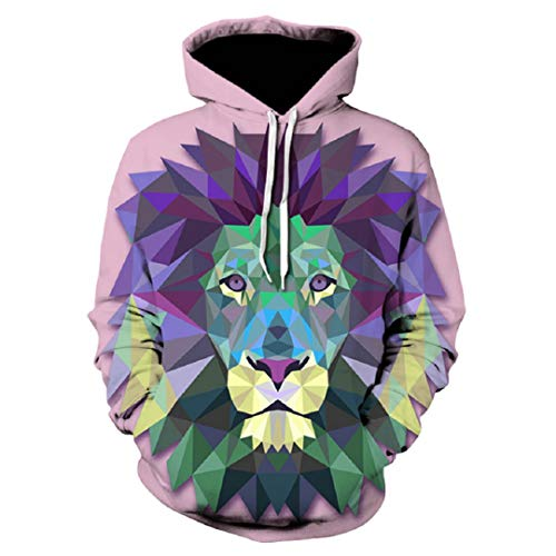 Junge Männer 3D Hoodies Beleuchtung Wolf 3D Print Pullover Animal Print Spring We-296 XL -