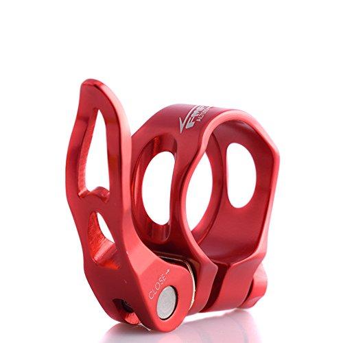 upanbike hueca de abrazadera para tija de sillín de bicicleta de aleación de aluminio de liberación rápida 31,8mm 34,9mm tubo Clip, rojo