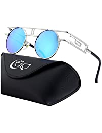 CGID E71 Steampunk estilo retro inspirado círculo metálico redondo gafas de sol polarizadas ...