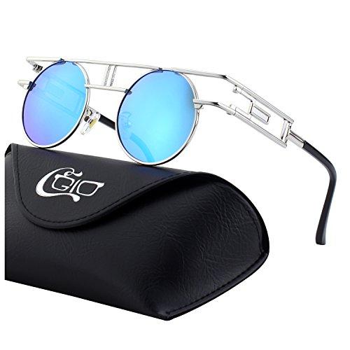 CGID Retro Sonnenbrille im Steampunk Stil, runder Metallrahmen, polarisiert, für Männer, E93