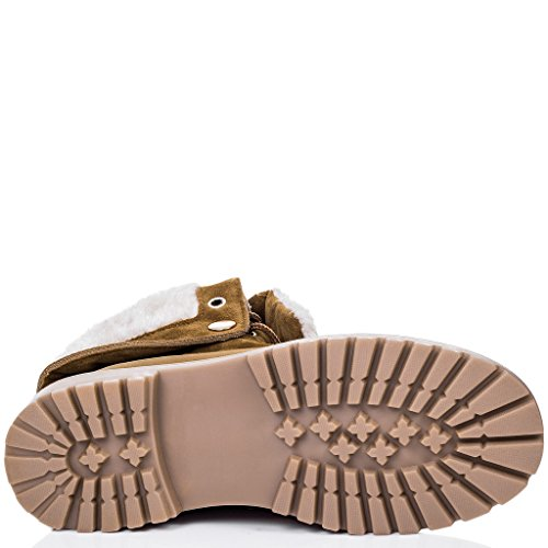 SPYLOVEBUY KINGA Femmes Lacet Plates Bottines Chaussures Tan - Similicuir