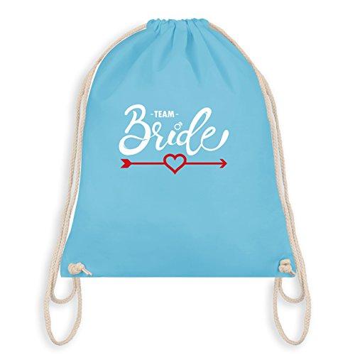 JGA Junggesellinnenabschied - Team Bride - Herz mit Pfeil - Turnbeutel I Gym Bag Hellblau
