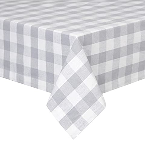 VEEYOO 60 x 84 inch (152 x 213 cm) Rectangular 100% Cotton Plaid Tablecloth Gingham for Home Kitchen Outdoor Use, Grey & White Buffalo