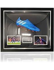 Desconocido Adidas - Botas de fútbol de Lionel Messi firmadas a Mano con Marco clásico de