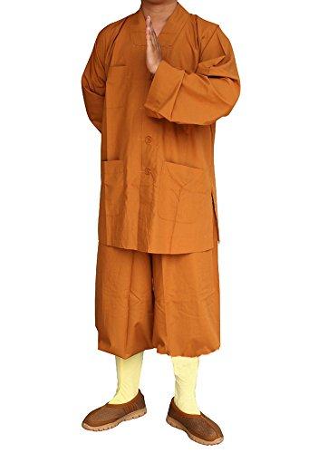 Mönche Kostüme Robe - Chinesische Traditionelle Religionen Buddhismus Taoismus Kampfkunst Wushu Shaolin Kung Fu Langärmelige Bekleidung mit Stehkragen kulturelle Anzüge mit Jacken und Hosen graue Uniformen für Frauen und Männer (Hochwertige Mönch Robe)