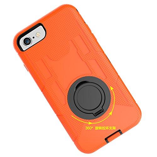 iPhone 7 Hülle, Heavy Duty Harte Rüstung Anti-Kratzer PU Silikon Handyhülle mit Ring Ständer / Kickstand Stoßfest Etui Shockproof Case Cover Kompletter Schutz Tasche Schutzhülle für Apple iPhone 7 (Ti Orange
