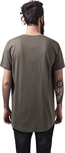 Urban Classics Herren T-Shirt Shaped Long Tee mit Rundhals Grün (olive 176)