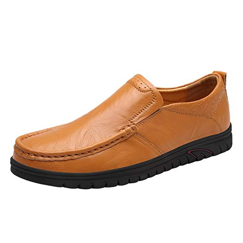 HILOTU Oxford Schuhe Für Männer Formelle Schuhe Slip On Style PU Leder Elegant Geprägte Niedrige Runde Zehen Arbeitsschuhe (Color : Yellowish Brown, Größe : 39 EU) -