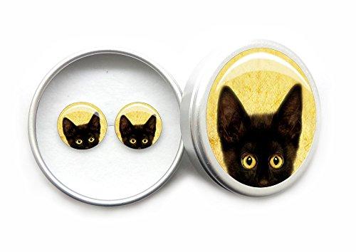Gato negro Pendientes Mujer Plata de Ley 925 con Hermosa Caja de Regalo Niña Regalo de cumpleaños