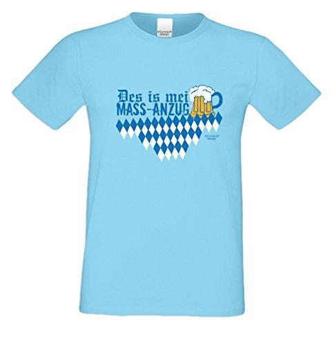 Bier t Shirt Herren Des is mei Mass - Anzug Wiesn Volksfest Dult Masskrug Bierzelt Oktoberfest Geschenkidee Farbe: hellblau Hellblau