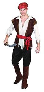 Bristol Novelty AC020 Traje Pirata Marrón de Hombre con Chaleco (Mediano)