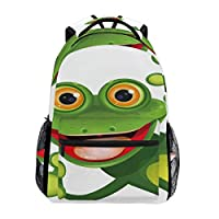 CVDGSAD School Backpack Green Frog Bookbag for Boys Girls Travel Bag
