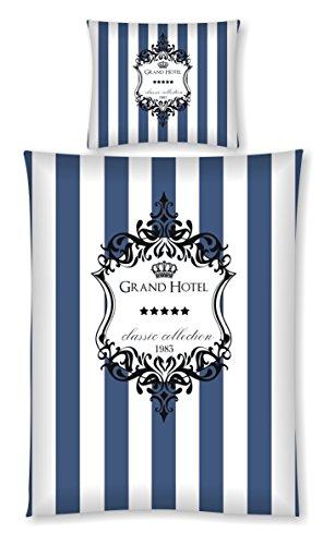 Aminata Kids - Hotel-Bettwäsche 135x200 cm Streifen 100-% Baumwolle blau Weiss Ornamente Zwei-teilig-er Bett-Decken-Bezug Reissverschluss -