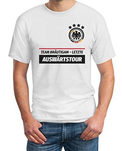 Junggesellenabschied Team Bräutigam Letzte Auswärtstour T-Shirt Large Weiß (Lustige Paare Kostüme Ideen)