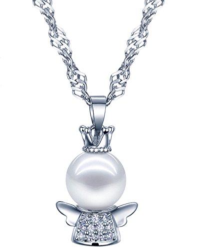 yumilok gioielli perla elegante ciondolo angelo collana in argento Sterling 925con zirconi per donne/ragazze