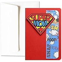Super Mom - super héros - Fête des Mères - carte de voeux avec enveloppe (15 x 10,5 cm) - carte faite à la main - blanc à l'intérieur