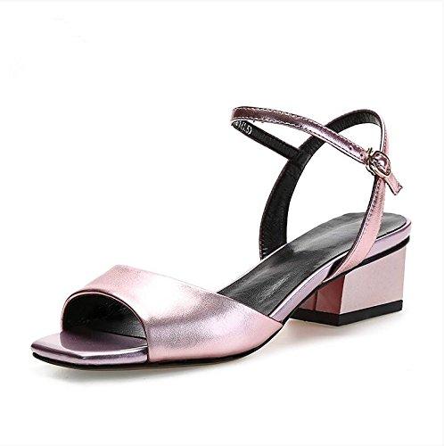 Frauen Fisch Mund schuhe Sommer Mädchen Sandale ,38 Khaki Pink