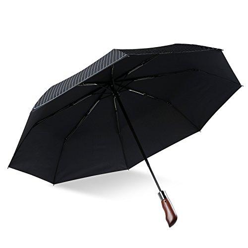 Regenschirm Taschenschirm mit Automatik-Auf-Zu-Mechanik,Adkwse Automatik-schirm, Sturm-schirm, leicht & kompakt, Teflon-Beschichtung, windsicher, stabil Reise-schirm für Damen &Herren (Schwarz)