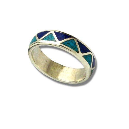 Indianerschmuck Sterling Silber Ring Chip Inlay Türkis Lapis Weddingring