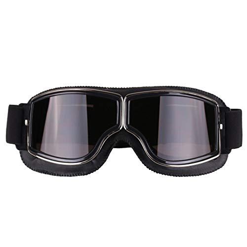 Neue Motorradbrille Mode Retro Style Vintage Motorrad Brille Helm Schutzbrille für Outdoor-Sportarten Einfach raus zu gehen (Color : Black+Grey)