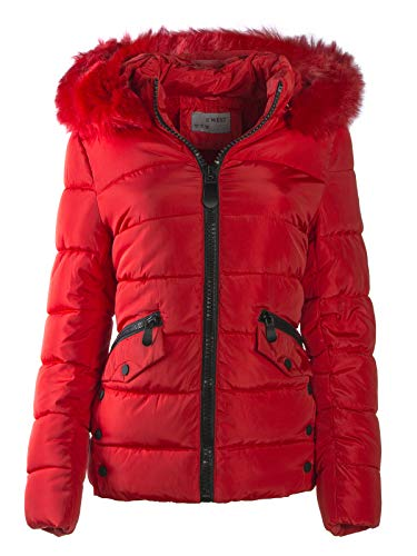 S'West Gesteppte Damen Winter WARME Jacke Mantel Kapuze MIT Fell ABNEHMBAR, Farbe:Rot, Größe:XXL