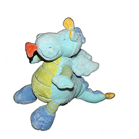 Doudou Peluche DRAGON bleu vert - Nicotoy - H 22 cm 579/0673