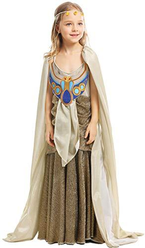 Kostüm Ägyptischen Cleopatra Göttin - MOMBEBE COSLAND Mädchen Ägyptische Königin Cleopatra Kostüme (XS, Gold)