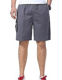 ZSHOW Homme Shorts Coton de Sport Cargo Travail Casual Relaxed Elastique Pour L'été Uni Pantalons Poches