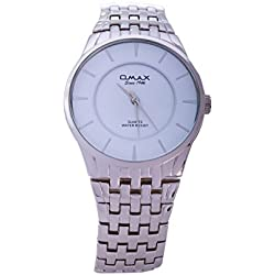 Silver Plated OMAX Brand Men's Modern Fashion Analogue Japanese Quartz Metal Watch