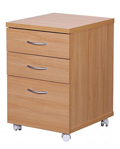 FineBuy DOCK Rollcontainer für Schreibtisch Arbeitsplatz mit Rollen mit 3 Schubladen Rollwagen Holz...