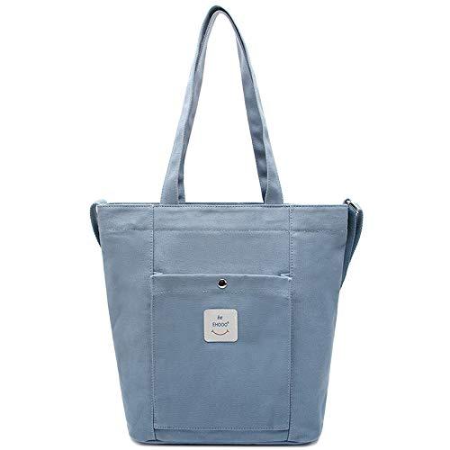 Bedolio Canvas Simple Damentasche Kunst Canvas Tasche lässig Schulter Umhängetasche, blau