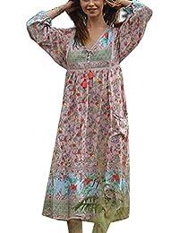 f1cad1ccb Falda de Manga Larga Moda de Mujer Vestido Estampado Floral Vestido Suelto  Elegante Original Blusa Bonita