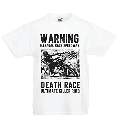 Kinder Jungen/Mädchen T-Shirt Todesrennen - ultimative Killerfahrt, Motorradrennen, Klassiker, Vintage, Retro-Schädel-Biker, Motorrad (14-15 Years Weiß Mehrfarben)