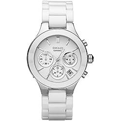 DKNY NY4912 - Reloj de cuarzo con correa de acero inoxidable para mujer, color blanco